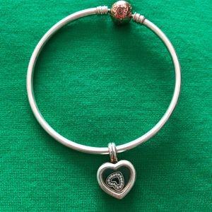 Pandora Rose Gold Clasp Bangle & Heart Charms!
